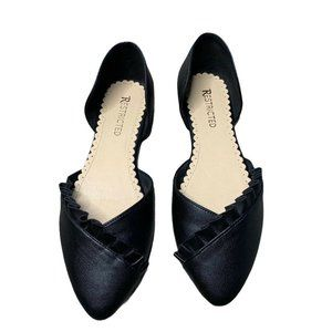 Restricted Black Ballet Flats Size 9 Pointed Top